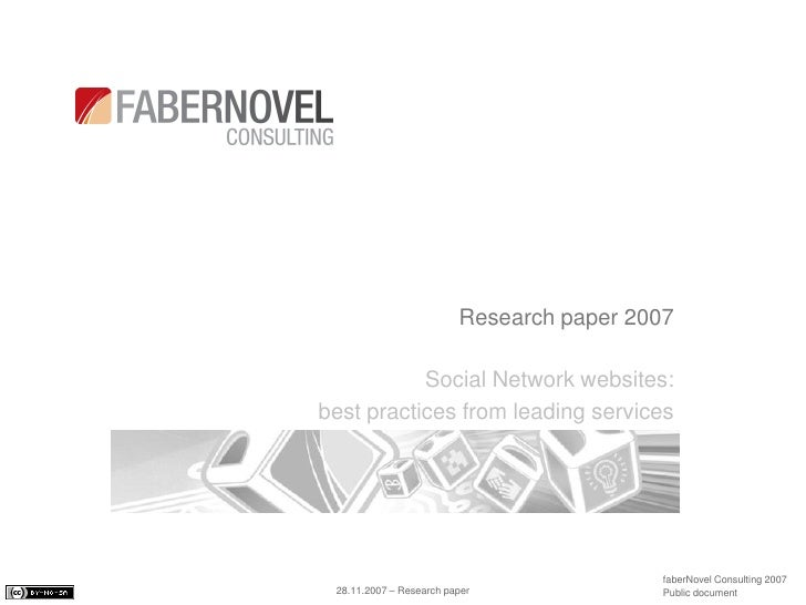 Research paper 2007             Social Network websites: best practices from leading services                             ...