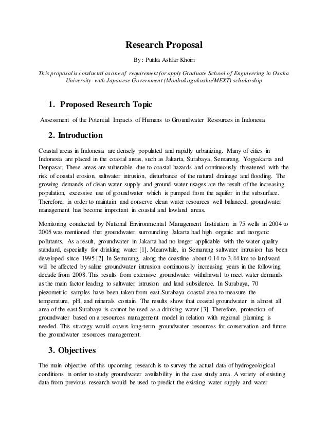 graduate research proposal Your research proposal is your opportunity to show your prospective supervisor that you have interesting ideas, and that you have some idea of how to test them it should consist of about two sides of a4, including references and it should include: clear empirical objective some idea of the research.