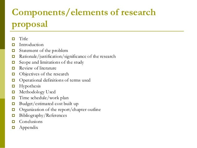 parts of research proposal Outline for research reports and proposals using apastyle 1 a research report informs the reader completely and accurately about an.