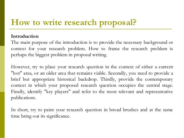 what is the purpose of a research paper proposal