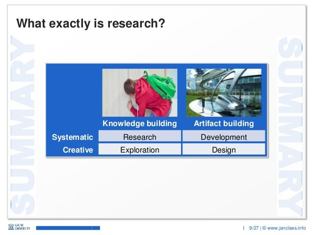 9/27 | © www.janclaes.info SUMMARY SUMMARY What exactly is research? Knowledge building Artifact building Research Explora...
