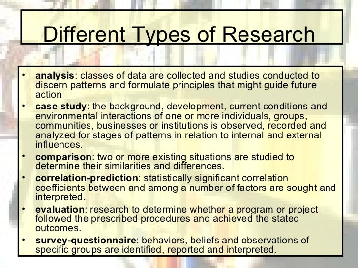 what are the different kinds of research
