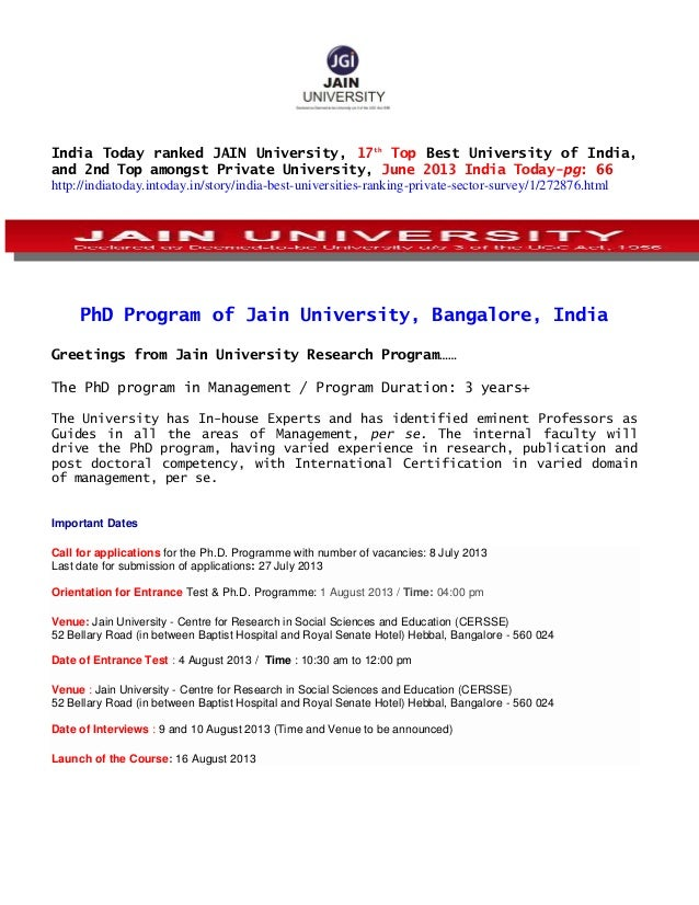 India Today ranked JAIN University, 17th Top Best University of India, and 2nd Top amongst Private University, June 2013 I...