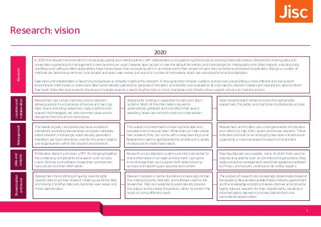 Research: vision 2020 In 2020 the research environment is increasingly global and interdisciplinary with collaboration and...