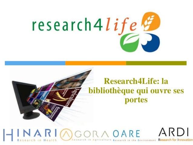 Research4Life: la bibliothèque qui ouvre ses portes