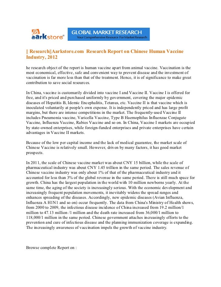 || Research||Aarkstore.com Research Report on Chinese Human VaccineIndustry, 2012he research object of the report is human...