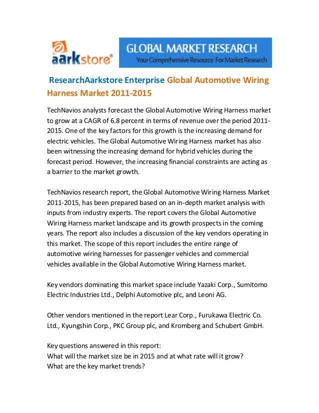 ResearchAarkstore Enterprise Global Automotive WiringHarness Market 2011-2015TechNavios analysts forecast the Global Autom...