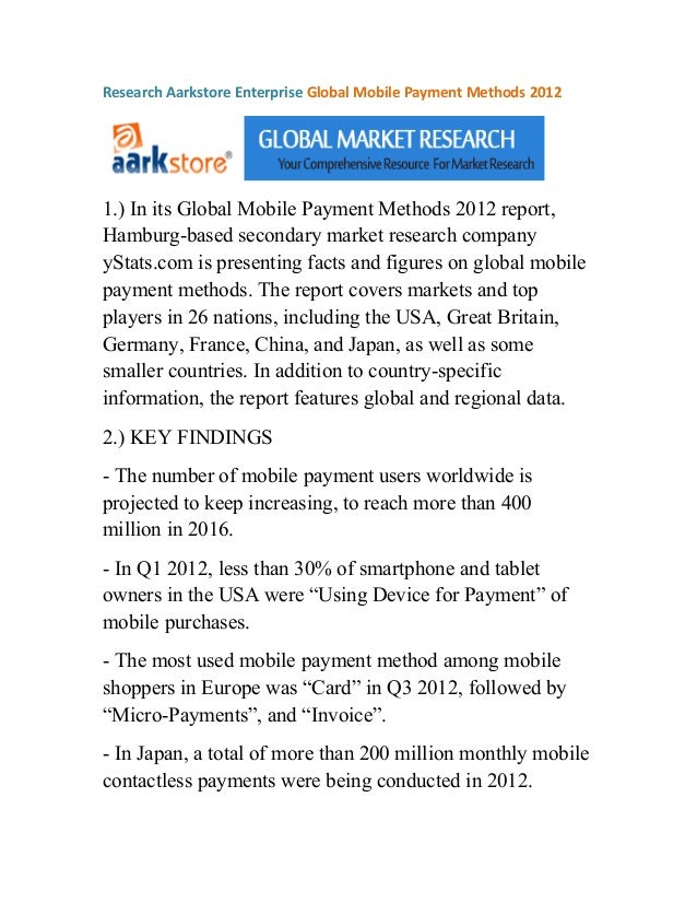 Research Aarkstore Enterprise Global Mobile Payment Methods 20121.) In its Global Mobile Payment Methods 2012 report,Hambu...