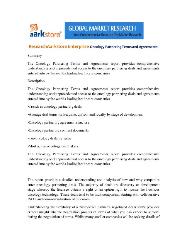 ResearchAarkstore Enterprise Oncology Partnering Terms and AgreementsSummaryThe Oncology Partnering Terms and Agreements r...
