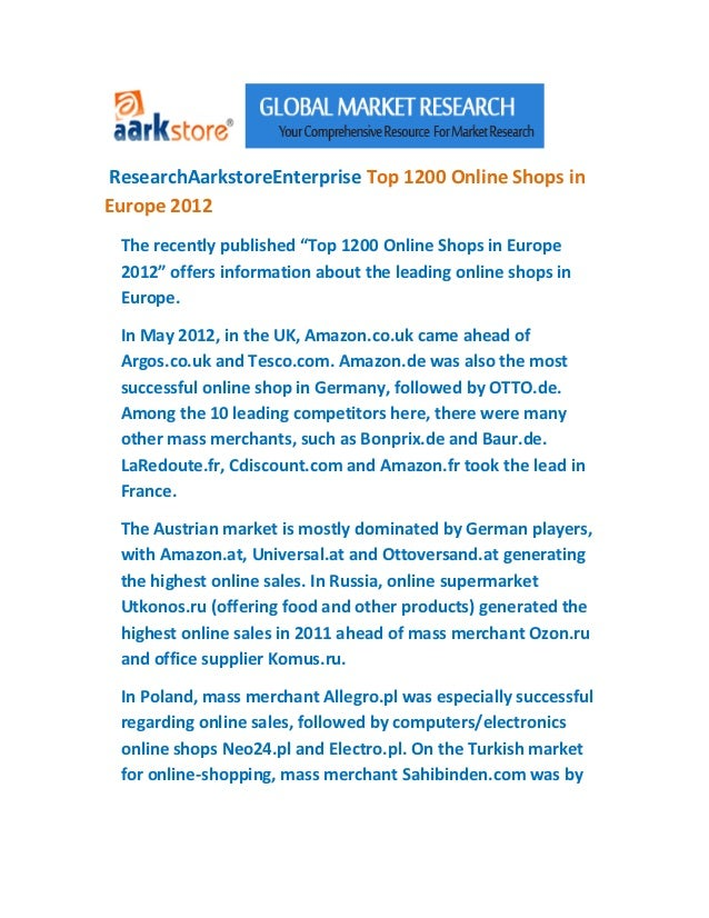 """ResearchAarkstoreEnterprise Top 1200 Online Shops inEurope 2012 The recently published """"Top 1200 Online Shops in Europe 20..."""