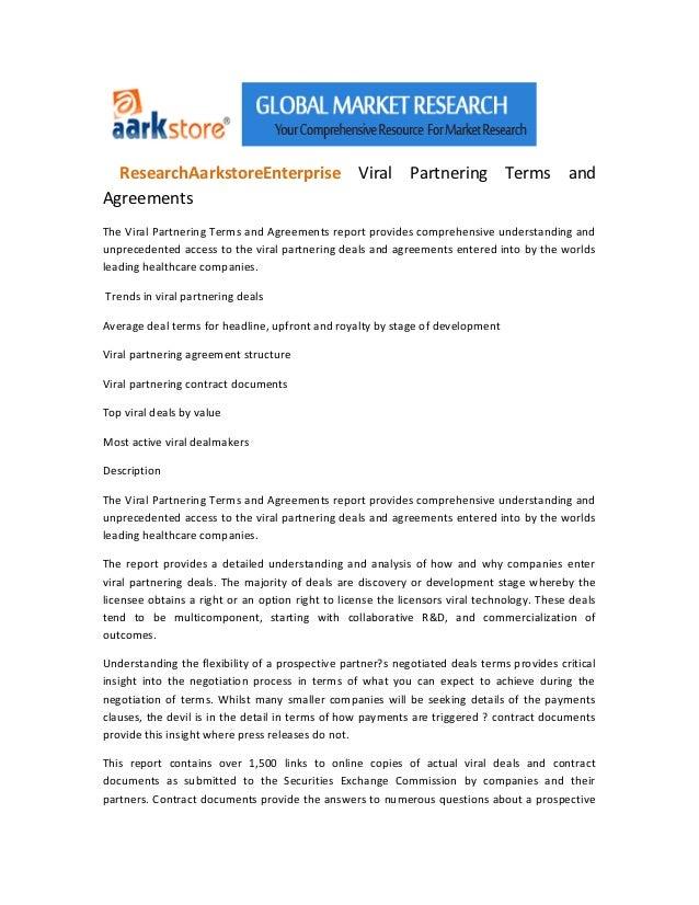 ResearchAarkstoreEnterprise Viral Partnering Terms andAgreementsThe Viral Partnering Terms and Agreements report provides ...