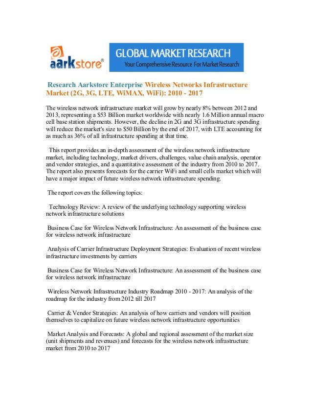 Research Aarkstore Enterprise Wireless Networks InfrastructureMarket (2G, 3G, LTE, WiMAX, WiFi): 2010 - 2017The wireless n...