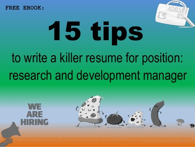 Research and development manager resume sample pdf ebook free download 15 tips 1 to write a killer resume for position free ebook research and 2 top materials for research and development fandeluxe Gallery