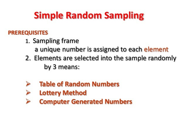 How a Simple Random Sample Is Generated