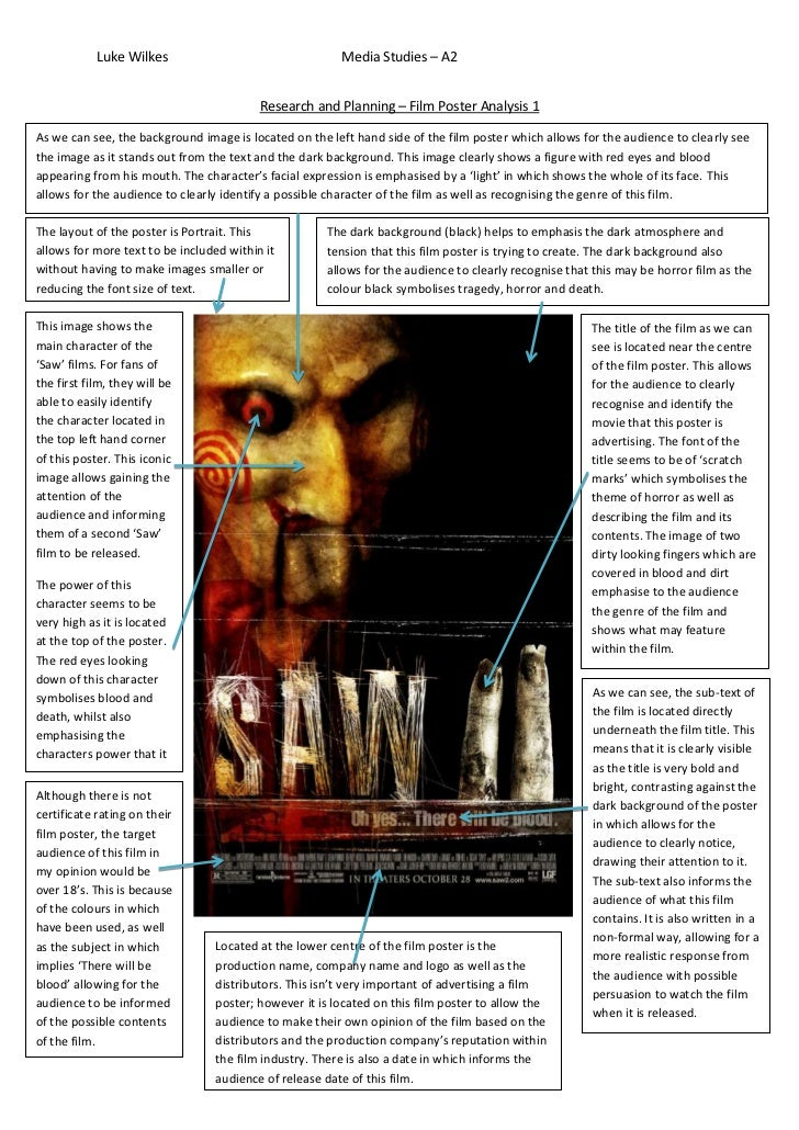 media film poster analysis I have decided to analyse this poster because it involves an element of the supernatural which establishes to the target audience the kind of villain that is in the film.