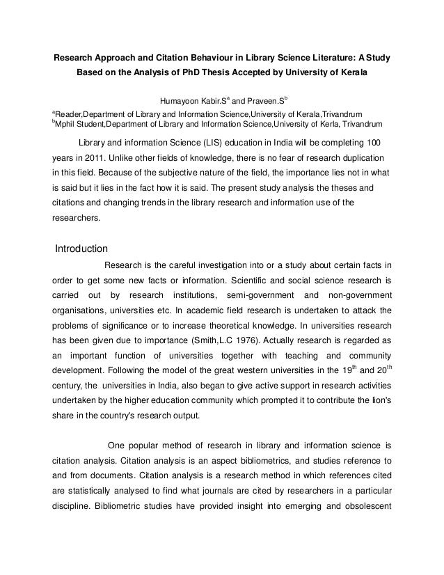 Online phd thesis in library science