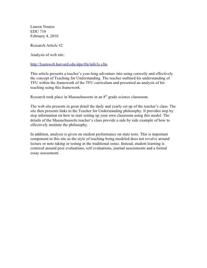 Lauren NourseEDU 710February 4, 2010Research Article #2Analysis of web site:http://learnweb.harvard.edu/alps/tfu/info3e.cf...