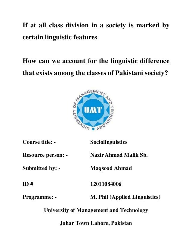 If at all class division in a society is marked by certain linguistic features How can we account for the linguistic diffe...