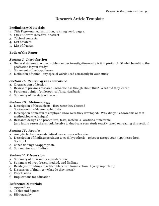 science article summary template - a template for writing research articles or papers by dr
