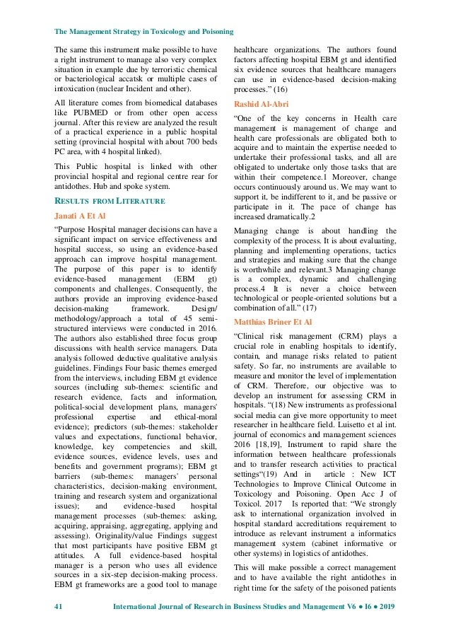 Research article the management strategy in toxicology and poisoning …