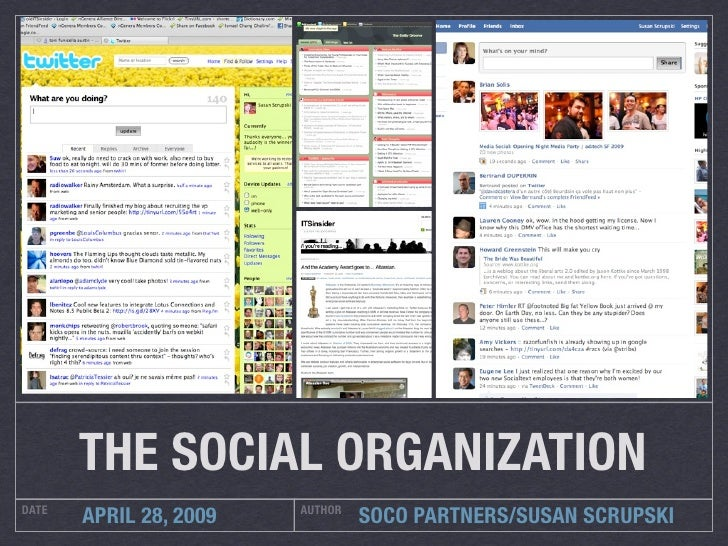 THE SOCIAL ORGANIZATION DATE                    AUTHOR        APRIL 28, 2009            SOCO PARTNERS/SUSAN SCRUPSKI