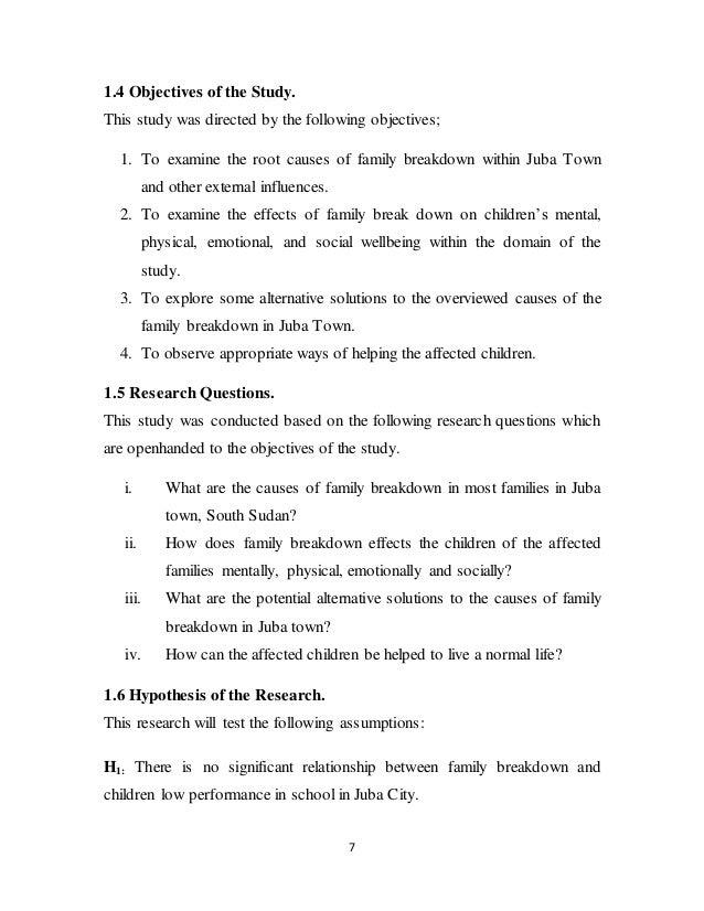 causes of family breakdown essay
