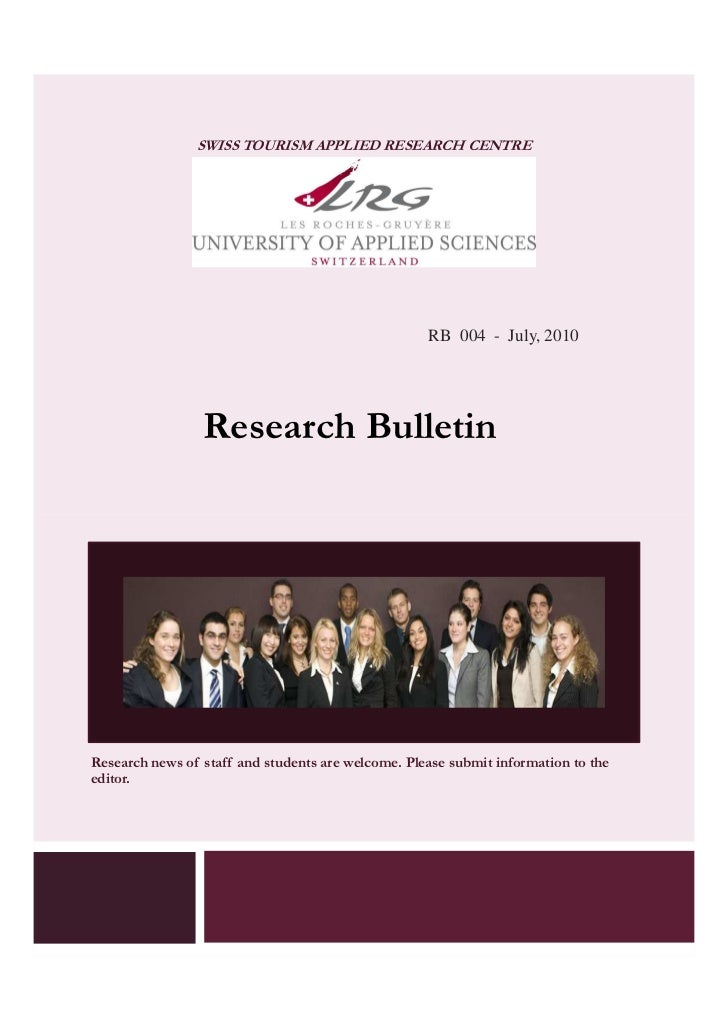 SWISS TOURISM APPLIED RESEARCH CENTRE                                                    RB 004 - July, 2010              ...