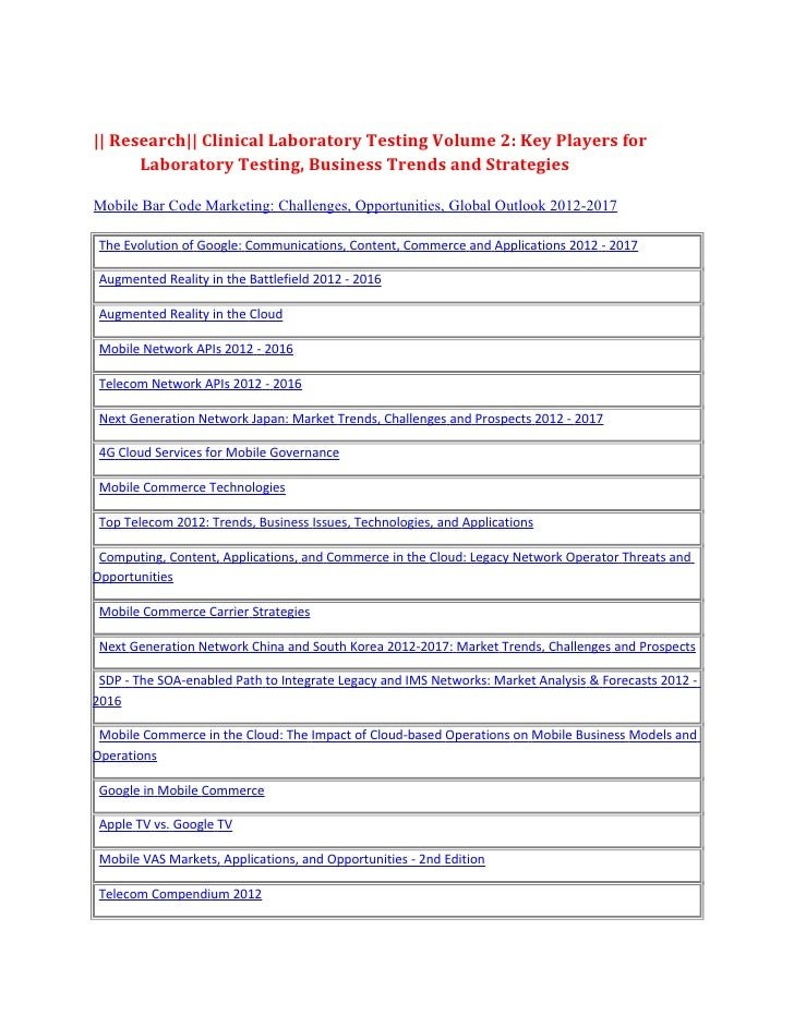 || Research|| Clinical Laboratory Testing Volume 2: Key Players for      Laboratory Testing, Business Trends and Strategie...
