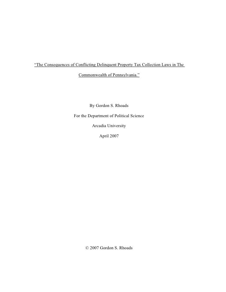 """""""The Consequences of Conflicting Delinquent Property Tax Collection Laws in The                       Commonwealth of Penn..."""