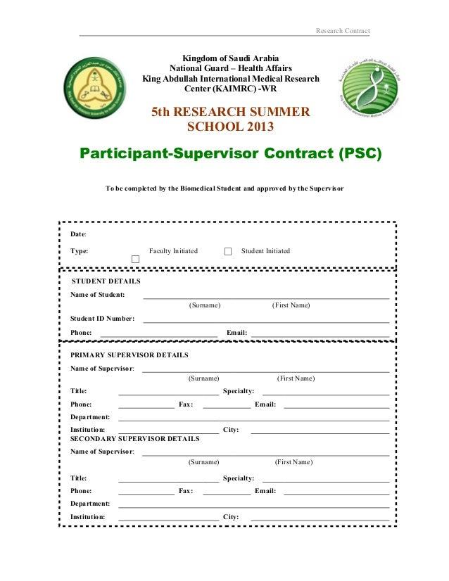 Research ContractKingdom of Saudi ArabiaNational Guard – Health AffairsKing Abdullah International Medical ResearchCenter ...