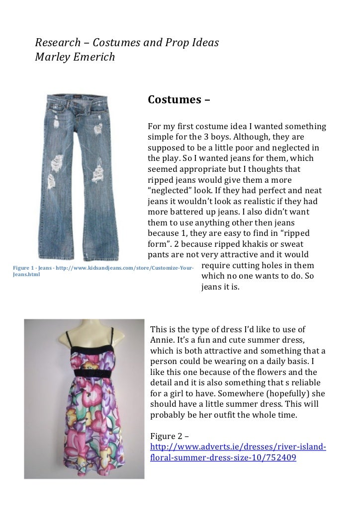 Research – Costumes and Prop Ideas                                                          Marley Emeri...