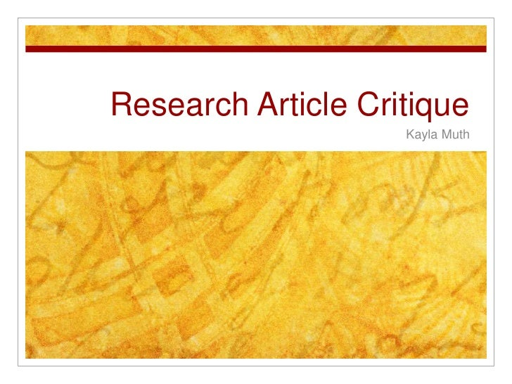 Define the Research Article Critique