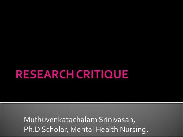 Muthuvenkatachalam Srinivasan, Ph.D Scholar, Mental Health Nursing.