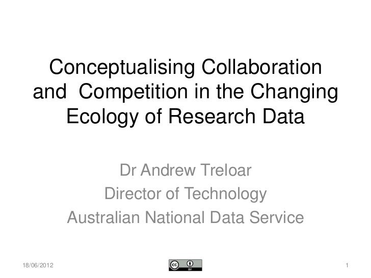 Conceptualising Collaboration   and Competition in the Changing      Ecology of Research Data                    Dr Andrew...