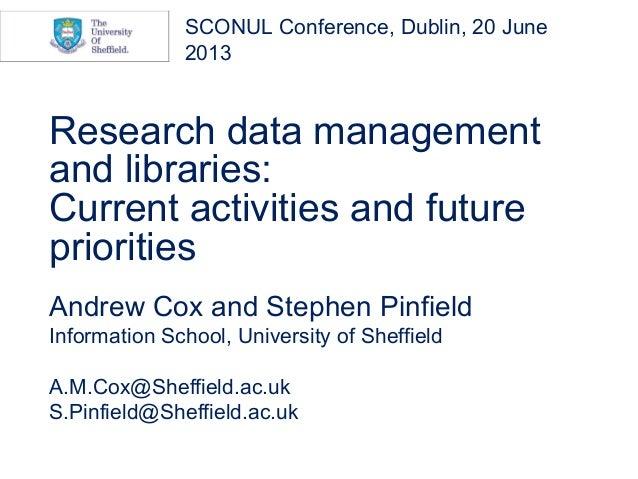 Research data managementand libraries:Current activities and futureprioritiesAndrew Cox and Stephen PinfieldInformation Sc...
