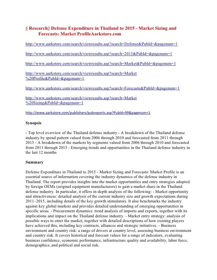 || Research|| Defense Expenditure in Thailand to 2015 - Market Sizing and       Forecasts: Market ProfileAarkstore.comhttp...