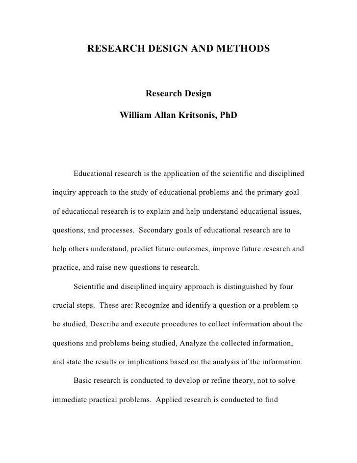 RESEARCH DESIGN AND METHODS                             Research Design                     William Allan Kritsonis, PhD  ...