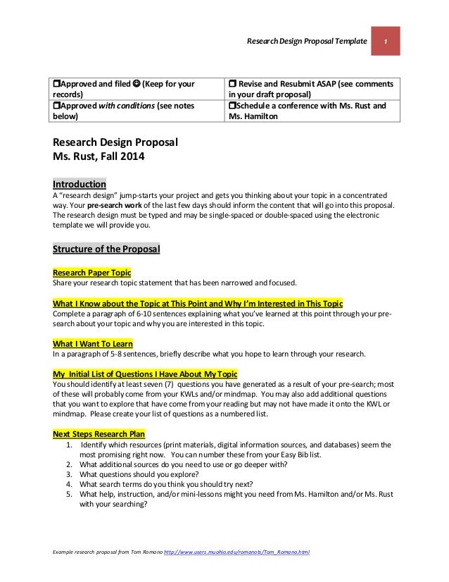 research design proposal template 1 example research proposal from tom romano httpwww