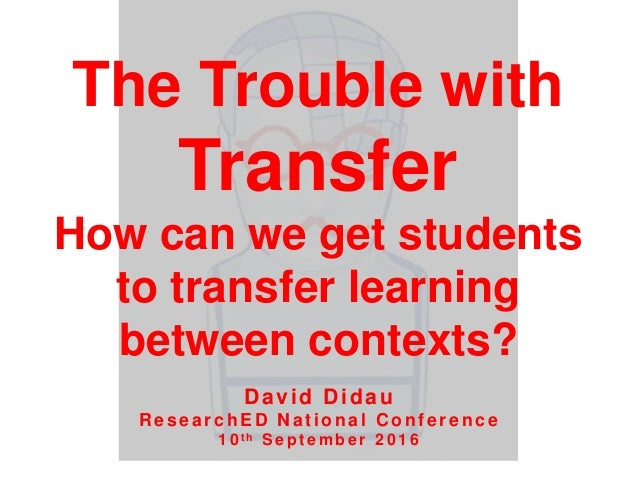 The Trouble with Transfer How can we get students to transfer learning between contexts? David Didau R esearchED N at iona...