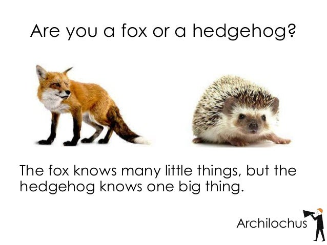Resultado de imagem para imagens 'The fox knows many things, but the hedgehog knows one big thing'. Photo by Gallery Stock