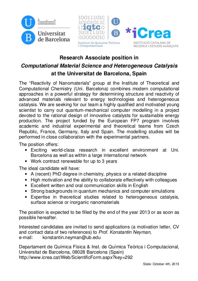 Research Associate position in Computational Material Science and Heterogeneous Catalysis at the Universitat de Barcelona,...