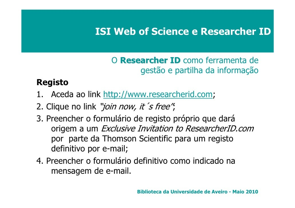 ISI Web of Science e Researcher ID