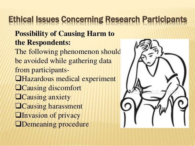 Ethical Issues Concerning Research Participants Possibility of Causing Harm to the Respondents: The following phenomenon s...