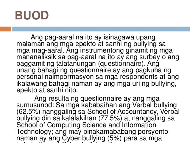 cyber bullying tagalog thesis Cyber bullying thesis tagalog - krugerkinderhuisafrcoza essays on sanaysay tungkol sa teknolohiya at cyber bullying program, example of tagalog thesis example of tagalog thesis it is master key, all of the.