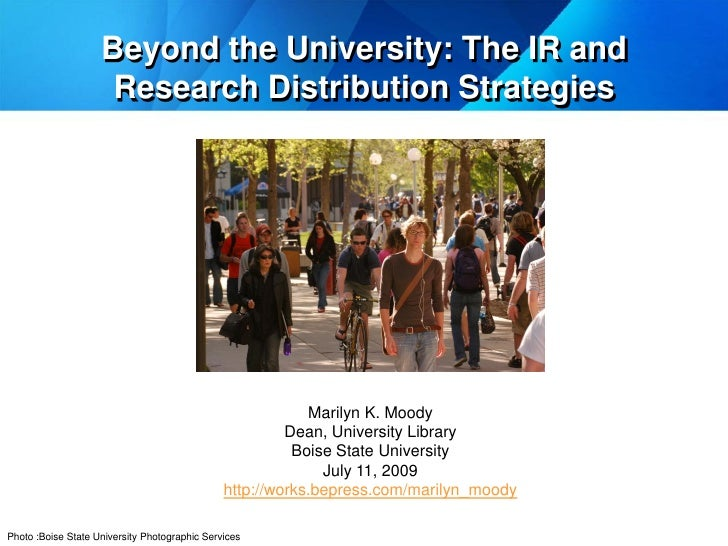 Beyond the University: The IR and                      Research Distribution Strategies                                   ...