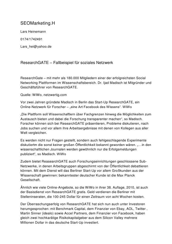 SEOMarketing.H Lars Heinemann  0174/1742491  Lars_hei@yahoo.de    ResearchGATE – Fallbeispiel für soziales Netzwerk   Rese...