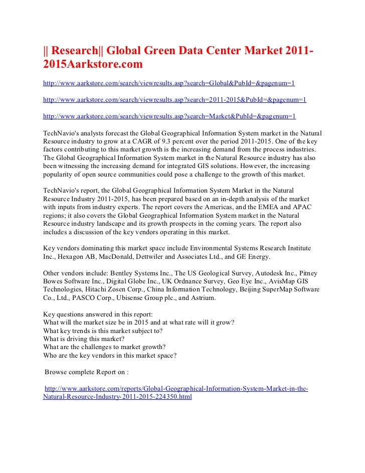 || Research|| Global Green Data Center Market 2011-2015Aarkstore.comhttp://www.aarkstore.com/search/viewresults.asp?search...
