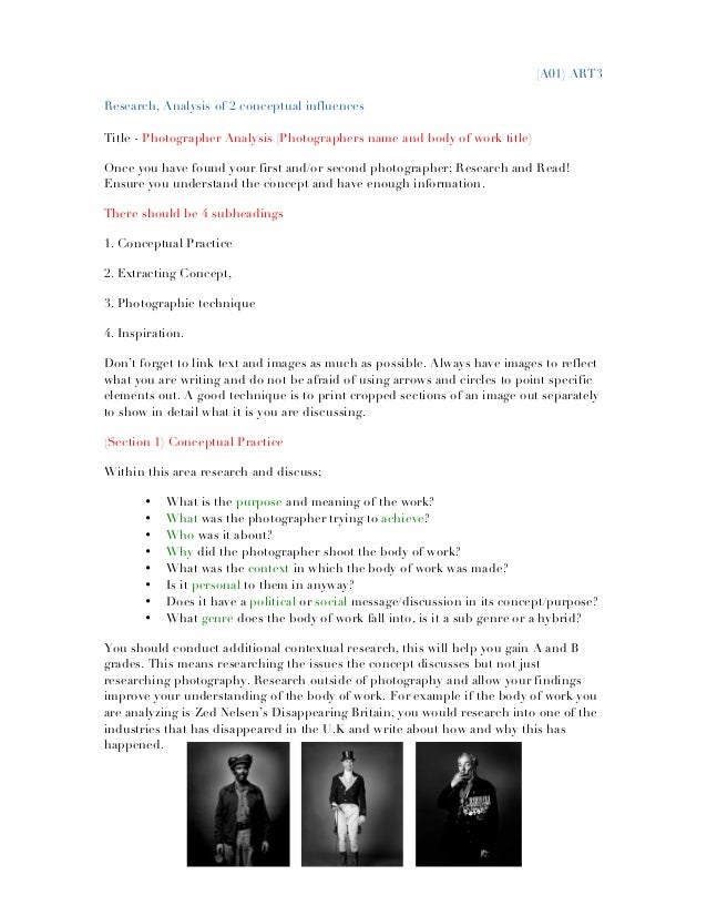 (A01) ART3 Research, Analysis of 2 conceptual influences Title - Photographer Analysis (Photographers name and body of wor...