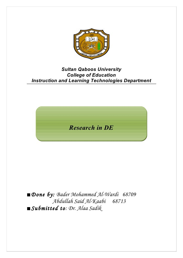 Sultan Qaboos University                 College of Education  Instruction and Learning Technologies Department           ...
