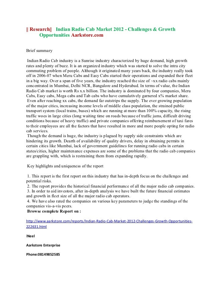 || Research|| Indian Radio Cab Market 2012 - Challenges & Growth       Opportunities Aarkstore.comBrief summary Indian Rad...